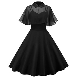 Vintage Mesh Cape Butterfly Sleeves Black Dress