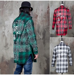 Back Skull Lettering Printed Checkered Shirts 190