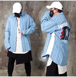 Cool Back Printed Striped Denim Loose Jacket Shirts 226