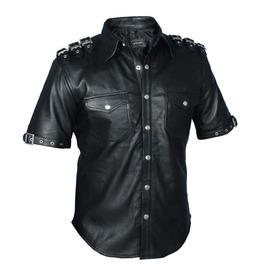 Mens Punk Gothic Rock Real Leather Shirt Fetish Club Shirt