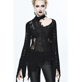 Asymmetric Lace Trimmed Goth Top Sr004