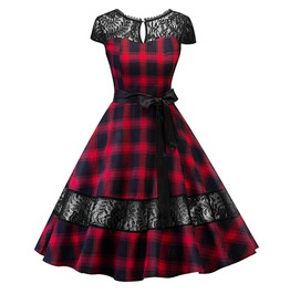 Vintage Lace Floral Red Black Check Dress
