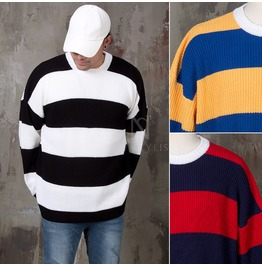 Big Contrast Striped Loose Knit Sweater 60