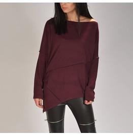 Burgundy Asymmetric Sweater/Woman Burgundy Sweater/Woman Cozy Sweater/Loose Asymmetric Sweater/Oversized Sweater