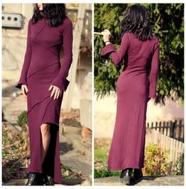 Burgundy Asymmetric Dress/Extravagant Puzzle Dress/Burgundy Kaftan Dress/Asymmetric Kaftan Dress