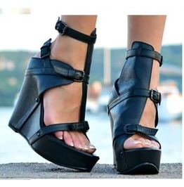 Woman Sexy Genuine Leather Wedges/Extravagant Must Have Platform Sandals/Black Genuine Leather Platform Shoes By Biju