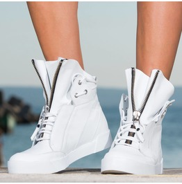 White Genuine Leather Sneakers/Woman Must Have Sneakers/Extravagant Woman Sneakers