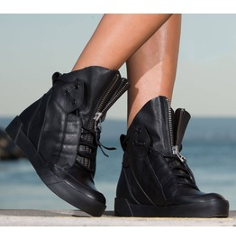 Black Genuine Leather Sneakers/Woman Must Have Sneakers
