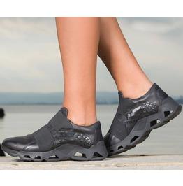Extravagant Black Platform Sneakers/Woman Genuine Leather Sneakers