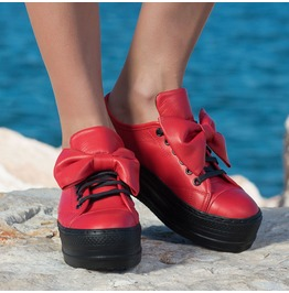 Red Platform Sneakers/Red Genuine Leather Sneakers