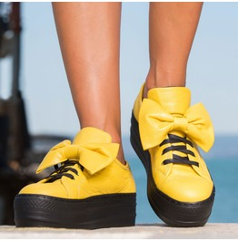 Yellow Genuine Leather Sneakers/Yellow Platform Sneakers/Woman Genuine Leather Platform Sneakers