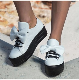 White Genuine Leather Sneakers/Woman Platform Sneakers/Extravagant Must Have Platform Sneakers By Biju