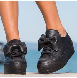 Black Genuine Leather Sneakers/Extravagant Leather Sneakers/Genuine Leather Platform Sneakers