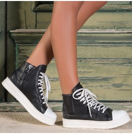 Black Leather Sneakers/Woman Genuine Leather Sneakers