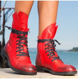 Extravagant Red Must Have Woman Cubes/Red Genuine Leather Woman Boots
