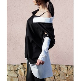 Loose Asymmetric Shirt/Plus Size Woman Shirt/Loose Casual Shirt/Oversized Woman Shirt/Black Asymmetric Shirt