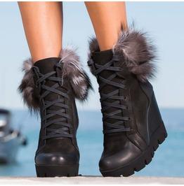 New Collection/Black Genuine Leather Platform Boots/Woman Platform Boots/Genuine Leather Ankle Boots