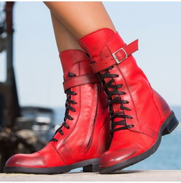 Red Genuine Leather Cubes/Woman Genuine Leather Boots/Red Genuine Leather Boots