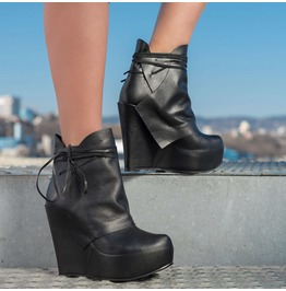 Extravagant Platform Boots/Genuine Leather Platform Boots/Black Leather Boots/Woman Platform Shoes/Genuine Leather Ankle Boots By Biju
