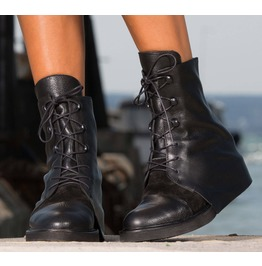 New Collection/Black Leather Boots/Woman Genuine Leather Boots