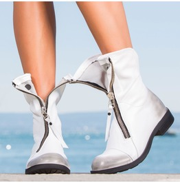 White Genuine Leather Woman Boots/Red Genuine Leather Woman Boots/Extravagant Woman Boots