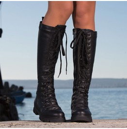 New Collection/Genuine Leather Woma Boots/Black Leather Boots
