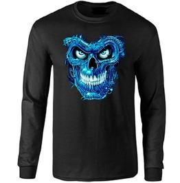 Blue Terminator Skull Long Sleeve T Shirt