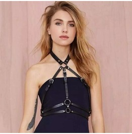 Black Faux Leather O Ring Harness Top
