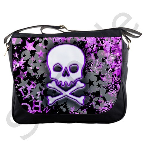 Purple Skull Messenger Bag Artist Roseanne Jones - Bags  Backpacks ...