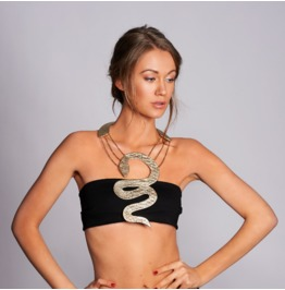 Large Necklace, Extravagant Jewelry, Snake Jewelry, Snake Necklace,