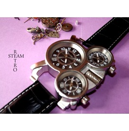 Russian Military 3 Time Zones Quartz Steampunk Watch