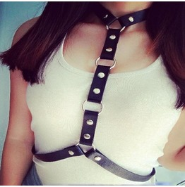 Studded Choker Belt Harness Womens Bra