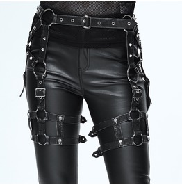Punk Style Waist Halter Black With Silver