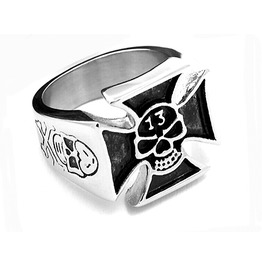 Wild Biker Maltese Cross Skull Lucky 13 Design Stainless Steel Ring Us12
