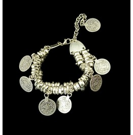 Awesome Cool Silver Metal Boho Hippy Rock Biker Chick Coin Bracelet