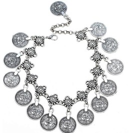 Awesome Cool Silver Metal Boho Hippy Rock Biker Chick Coin Bracelet Anklet