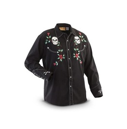 Scully Western Skull & Floral Embroidery Black Cowboy Pearl Snap Shirt