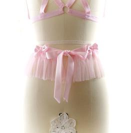Corset Belt , Ddlg Daddys Girl Corset Sash Belt Pink Tulle Ruffles Pink Bow
