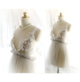 Romantic Tunic Gray Tulle White Lace Bridal Wedding Lingerie Dress Nightgow