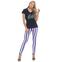 Womens Striped (Purple/White) Pattern Stretch Leggings By Pamela Mann