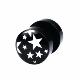 Cool Black Mystic Rounded Stars Design Barbell Earring Ear Stud X 1
