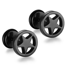 Mystic Black Star Stainless Steel Scre On Dumbell Earrings