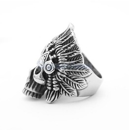 Wild Large Chief Skull Head Design Stainless Steel Ring Us 7