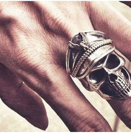 Eye Catching Shiny Silver Metal Skeleton Skull Head Army Cap Ring Us Size10