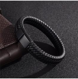 Braided Genuine Leather Bracelet Mens Punk Jewelry
