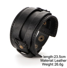 Genuine Leather Black Brown Bracelet Jewelry