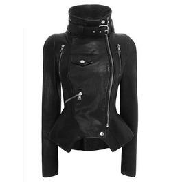 Collar Assymmetric Faux Leather Jacket Womens Outerwear