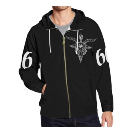 Black Phillip Baphomet Zippered Hoodie