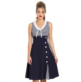 Voodoo Vixen Vera Navy Nautical Flared Sailpr Dress