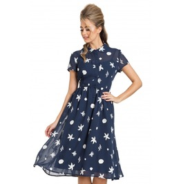 Voodoo Vixen Mary Under The Sea Printed Swing Navy Dress